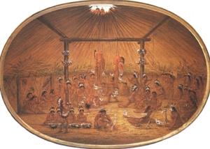 Okipa, a Mandan ceremony, ca. 1835