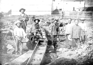 Anglo and Chinese miners  circa 1852. Daguerrotype by J. B. Starkweather
