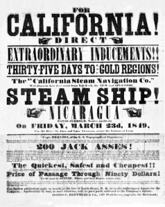 1849 poster ad for ship to California Gold Rush