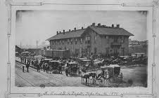 The Topeka Depot of the Atchison, Topeka, and Santa Fe circa 1880. The Harvey House Restaurant was on the second floor. Photo courtesy of Kansas Historical Society