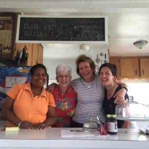 Angela Bates, Eunice Boeve, me and Cristal at Ernestine's BBQ, Nicodemus