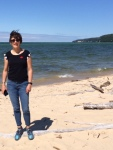 Cristal at Sandy Point, The Pictured Rocks in right hand background