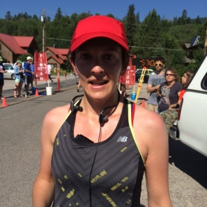 Sweaty Cristal after the race