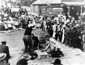 A double-jacking competition in Eldora, CO 1900-1910. Photograph courtesy of Denver Public Library, Western History Photographic Collection.
